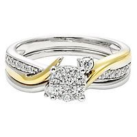 diamond engagement ring set in 10k gold - Clearance Wedding Rings