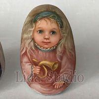 """Egg. 6cm. """"Angel with Small Horn"""" by """"Lida-Studio"""". Artist: V.Barsukova"""