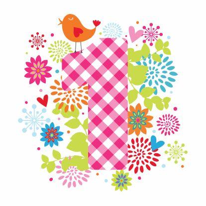 Lieve kleurrijke kaart voor een meisje dat 1 jaar wordt. Design Birthday Card / Verjaardagskaart by Dysyn www.kaartje2go.nl