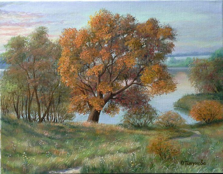 """Купить Картина маслом""""Рыжее утро"""",пейзаж - Картины и панно, пейзаж маслом, пейзаж, пейзаж недорого"""