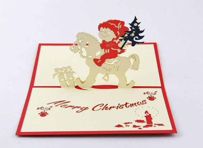 Pine noel card, Christmas greeting card, Xmas 3D pop up card 0.65/each when buy from 300pcs