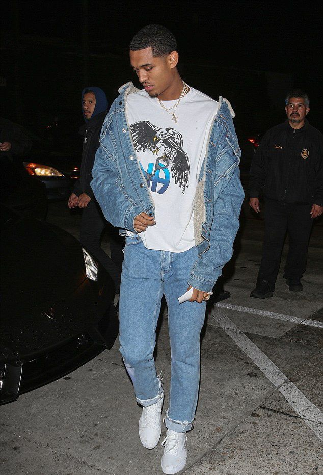 Jordan Clarkson Goes Out With Hailey Baldwin Wearing a Levi's Denim Jacket and Enfants Riches Deprimes T-Shirt   UpscaleHype