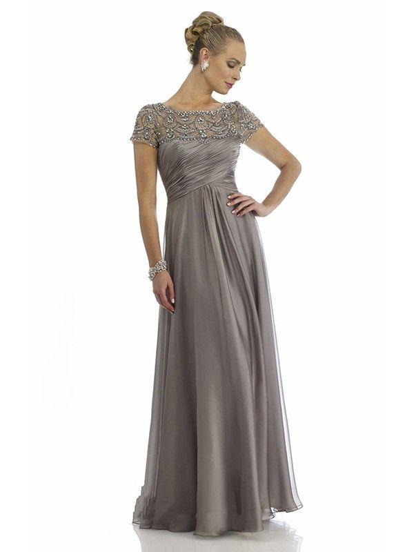 A-Line/Princess Scoop Short Sleeves Beading Floor-length Chiffon Dress