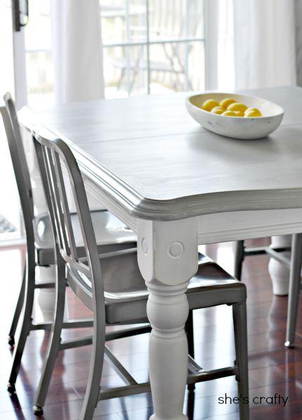 mesa patas blancas y tabla gris lijado, imprimación pintura y protección