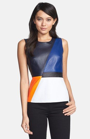 Bailey 44 'Dribble' Colorblock Leather Front Top. #Nordstrom