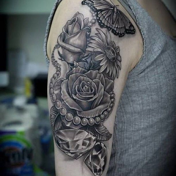 Upper Arm Butterfly Flowers Arm Tattoo Design Pearl Tattoo Diamond Tattoos Tattoos