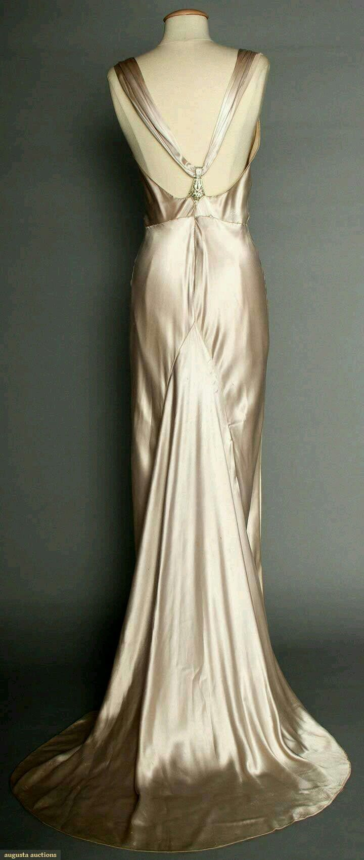 1930's Silver Satin Evening Gown 2