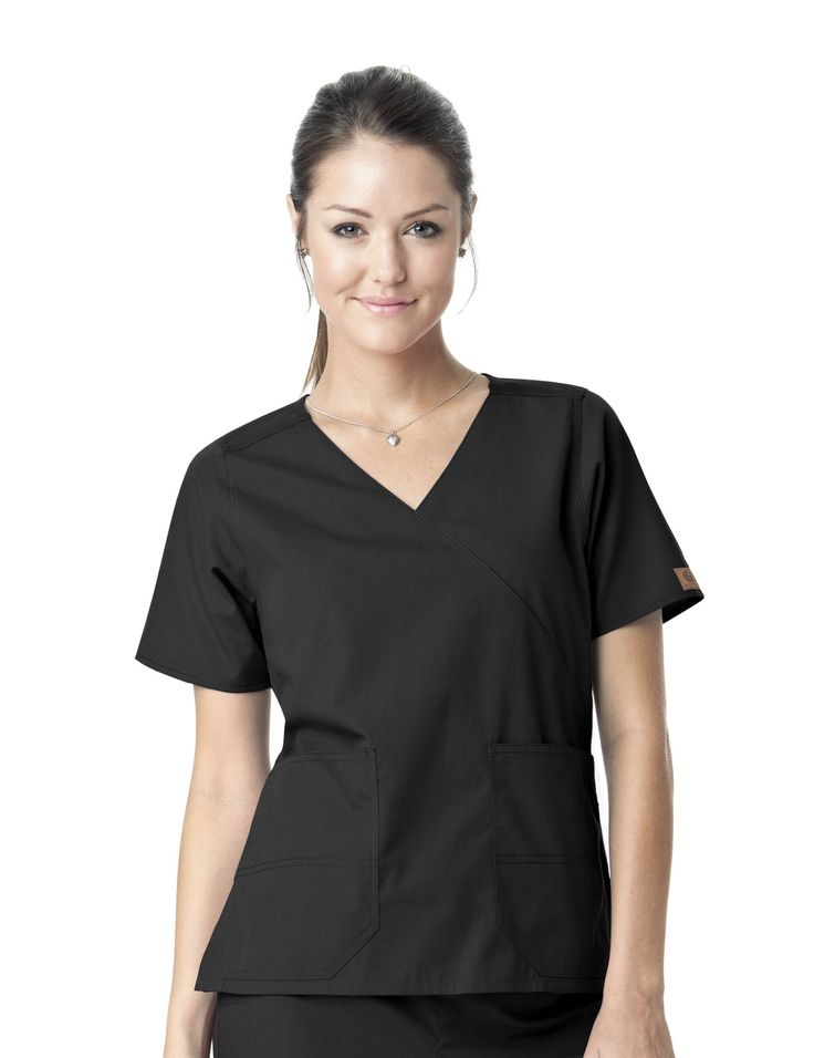 Two Pocket Premium Mock Wrap Scrub Top by Carhartt. Black #scrubs #uniforms