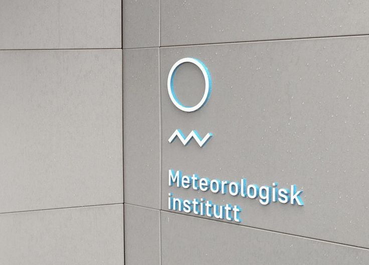 Logo and exterior signage designed by Neue for the Norwegian Meteorological Institute - Meteorologisk Institutt