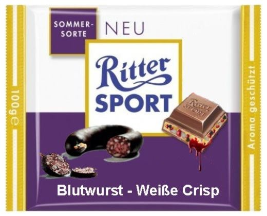 RITTER SPORT Fake Schokolade Blutwurst Weiße Crisp