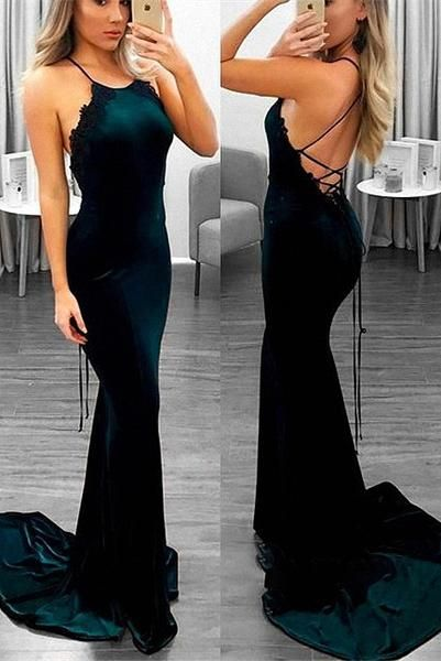 01f4100425d5a Gorgeous halter mermaid prom dresses lace appliques with strings back B62