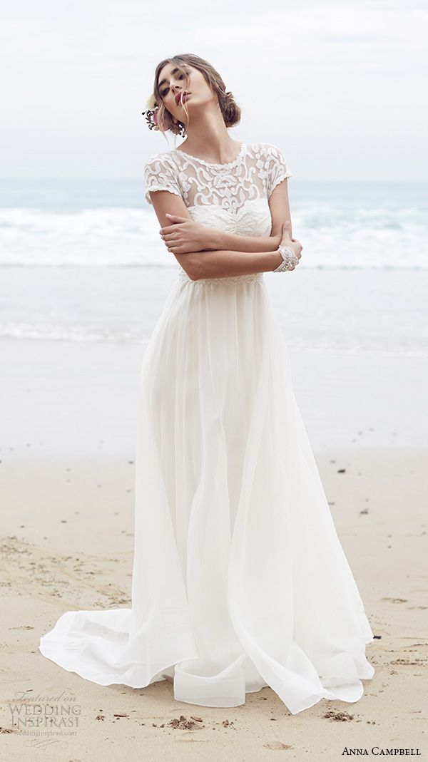 Anna Campbell 2015 Bridal Dress | Cap sleeves and an illusion lace neckline, how stunning!