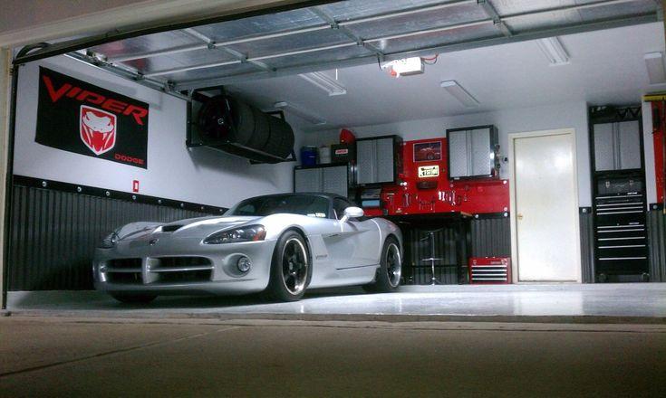 garage shop ideas pictures - tire rack & corrugated wainscot