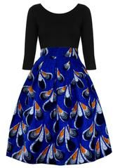 The perfect modern African dress for your wardrobe! This shift dress features ruffle sleeves and a fun African print with peacock feathers. Shop now!