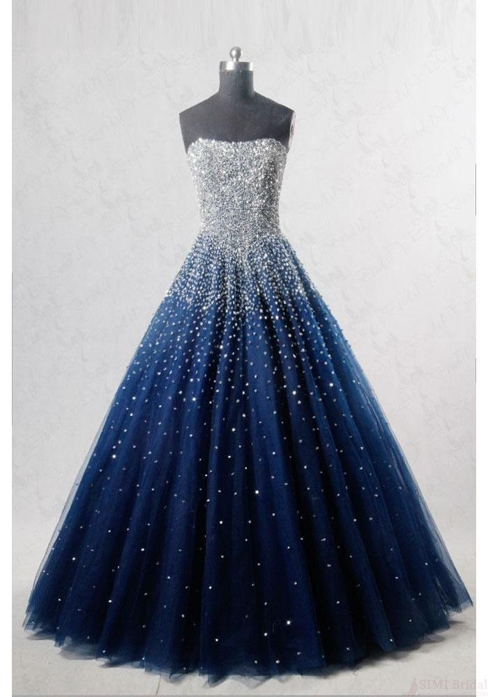 Navy Blue Strapless Floor Length Prom Ball Gown wi…