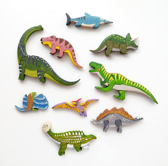 Wooden Triceratops toy Dinosaur figurine Play Set for boys