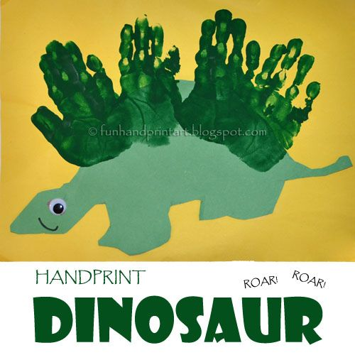 This adorable Handprint Dinosaur was made by my little guy in his preschool class. He cut the dinosaur silhouette from green construction paper, glued on a googly eye, and drew on a mouth. His teacher helped him make 4 handprints on the top of its back. The dinosaur would look cute in any color or …
