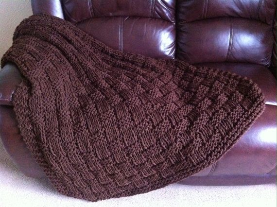 Chunky Basket Weave Blanket / Sofa Throw  by DaisyGrayKnits