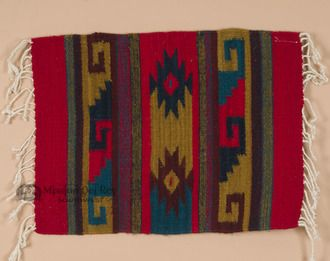 One of a Kind Hand Woven 100% Wool Zapotec Indian This is an authentic southwest style Zapotec place mat, hand woven using 100% wool. This southwestern placemat is a Zapotec original, the only one in