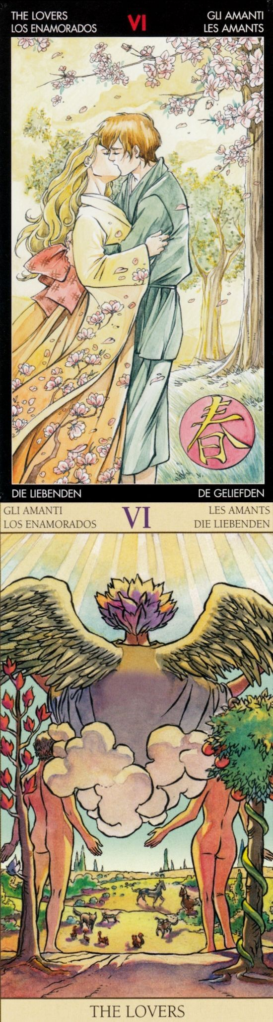 THE LOVERS: harmony and loss of balance (reverse). Manga Tarot deck and New Vision Tarot deck: tarot reading for today, free online tarot and free lotus tarot reading 2016. New playing cards art and tarot art nouveau. #halloweenparty #judgement #witch #wands #gothic #halloween
