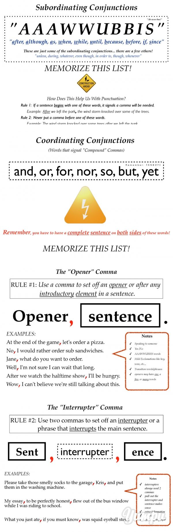 best images about esl writing writing prompts subordinating conjunctions memorize this list subordinating conjunctions memorize this list