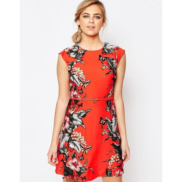 Oasis Tropical Print Belted Skater Dress ($73) ❤ liked on Polyvore featuring dresses, coral, flounce dress, belted dress, cap sleeve dress, flutter-sleeve dress and red ruffle dress