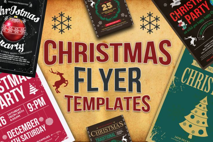 12 Christmas flyer Bundle by Template Shop on @creativemarket - retro flyer template