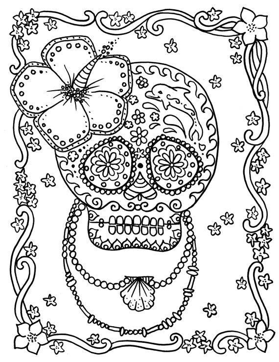 sugar skull coloring book page day of the dead dia de los muertos fantasy