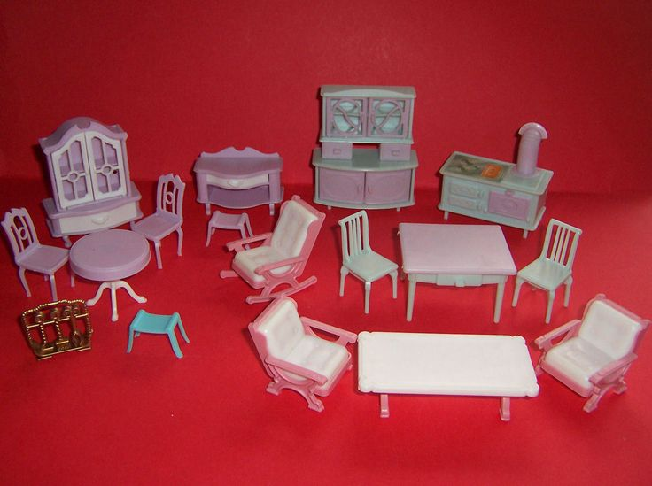 VINTAGE DOLLS HOUSE 16th JEAN WEST GERMANY DINING ROOM KITCHEN LOUNGE FURNITURE