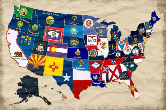Map of the United States with Flags Geography by GottaTeachEmAll, have students do this with blank United States maps.