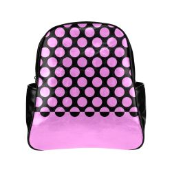 CVPA20032 Large Polka Dots Pink Black Multi-Pockets Backpack (Model 1636)