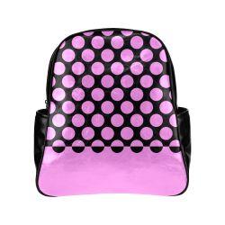 CVPA20032 Large Polka Dots Pink Black Multi-Pockets Backpack (Model 1636)