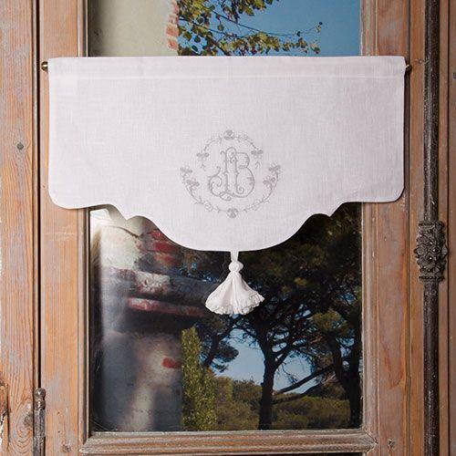 Cantonnières : Cantonnière Pétunia brodée - Escapades Champêtres linge de maison décoration