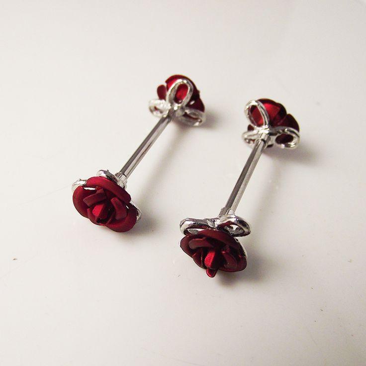 2ピース1.6*16mm14gバラの花水晶ニップルリングニップルシールドリングボディピアスダブル赤い花の女性ギフト