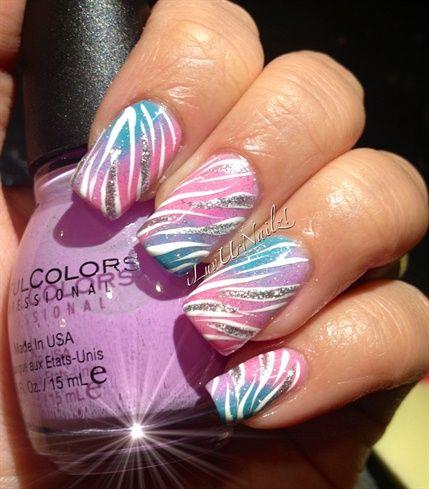 Pastel Gradients With Some Zebra Print by iLuvUrNailz