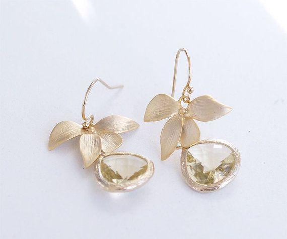 Gold Bridesmaid Earrings - Jonquil Yellow Drop Earrings