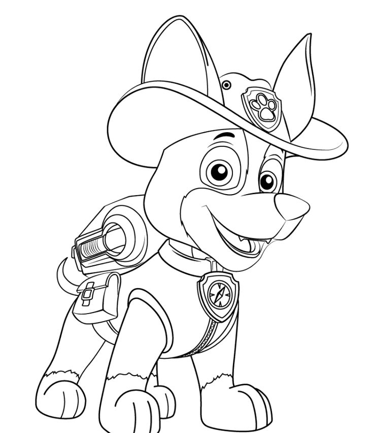 paw patrol new pup tracker coloring page | paw patrol