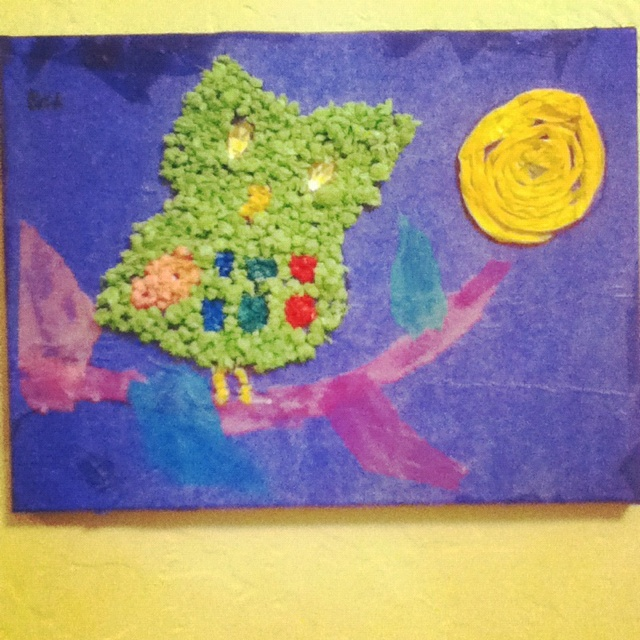 Tissue paper mod podge and a canvasCanvas