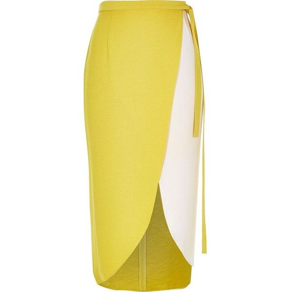 River Island Yellow color block wrap midi skirt ($60) ❤ liked on Polyvore featuring skirts, bottoms, saias, midi skirts, women, yellow, wrap skirt, yellow knee length skirt, colorblock skirt and calf length skirts