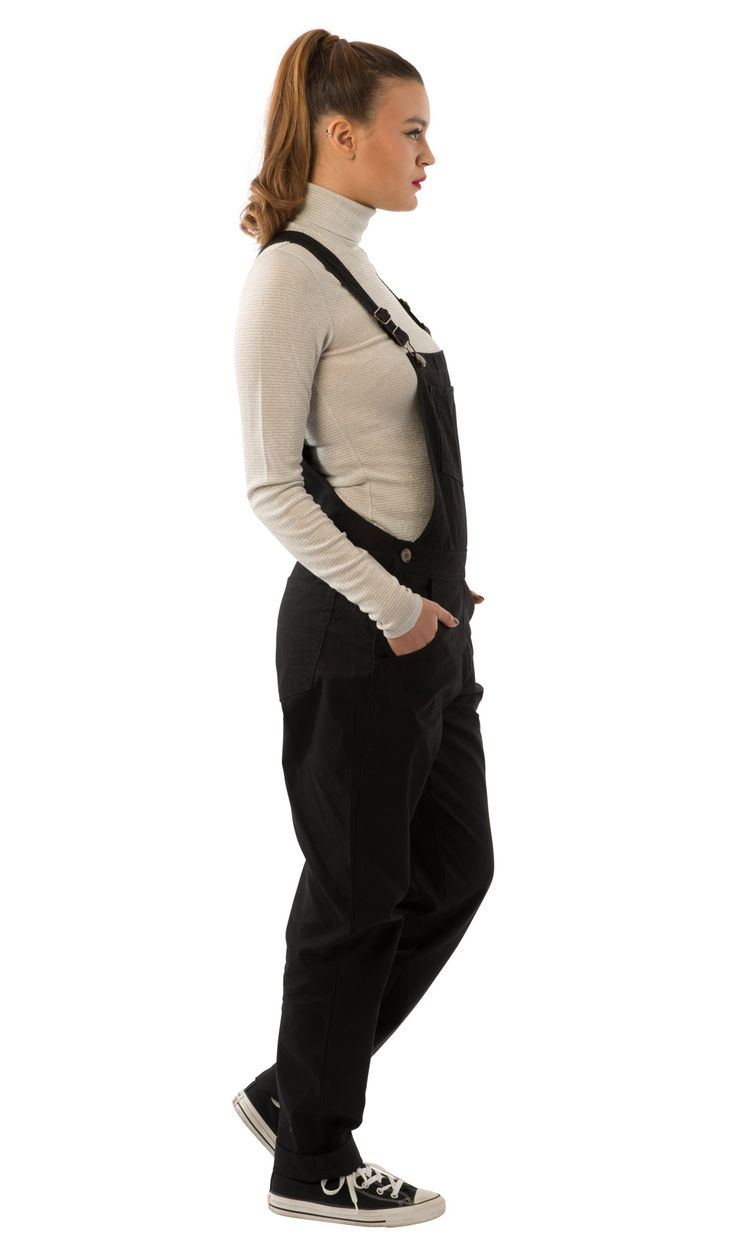 USKEES Amanda Regular Fit Ladies Dungarees - Black with flat shoes. #LoveUS #overalls
