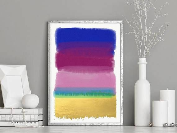 Digital Watercolour Abstract Wall Art Print - Printable Pink Blue Gold Foil Watercolour Brush Art -Magenta Blue Pink Gold Abstract Art Print