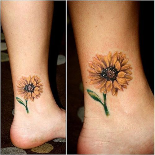 Small positive sunflower tattoo on ankle