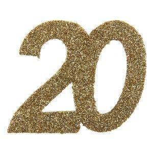 Confettis anniversaire 20 ans or pailleté les 6, Confettis de table anniversaire, confetti carton en forme de chiffre 20, anniversaire chic