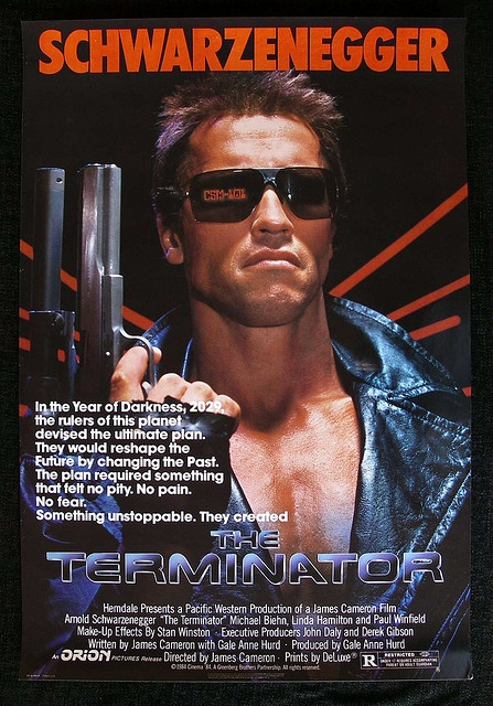 The Terminator movie poster - Kevin would probably like this for the home theatre... And it covers Action and Sci-fi movies :)