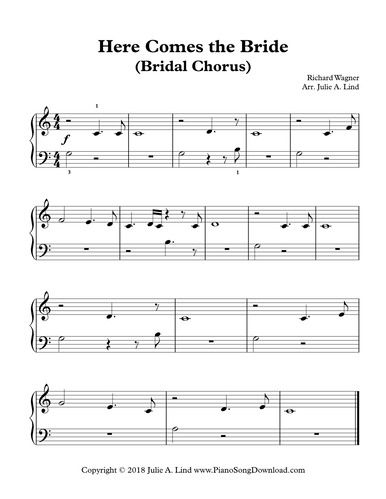 Here Comes the Bride, Bridal Chorus piano sheet music for beginning ...