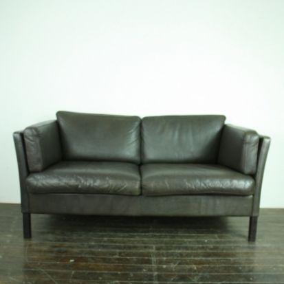 Vintage Mogensen style 2 seater dark brown leather sofa