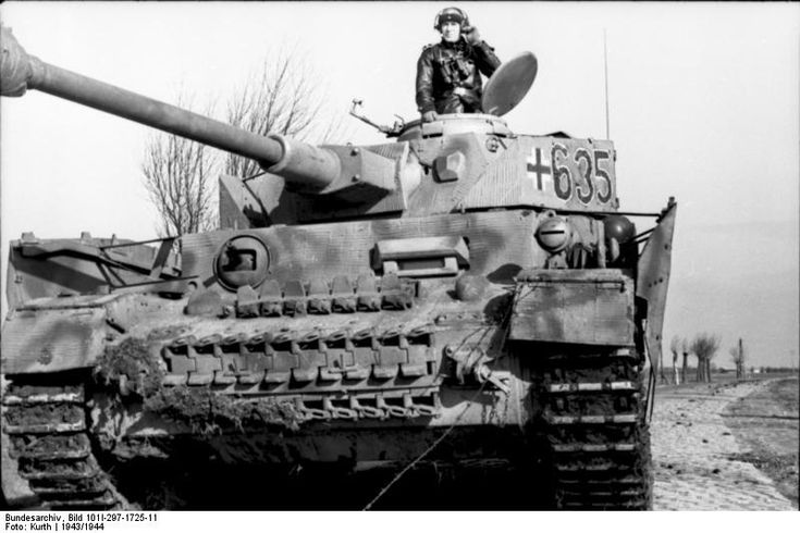 Tank commander and his Panzer IV tank of German 12th SS Panzer Division 'Hitlerjugend' in Belgium or France, 1943, photo 2 of 3
