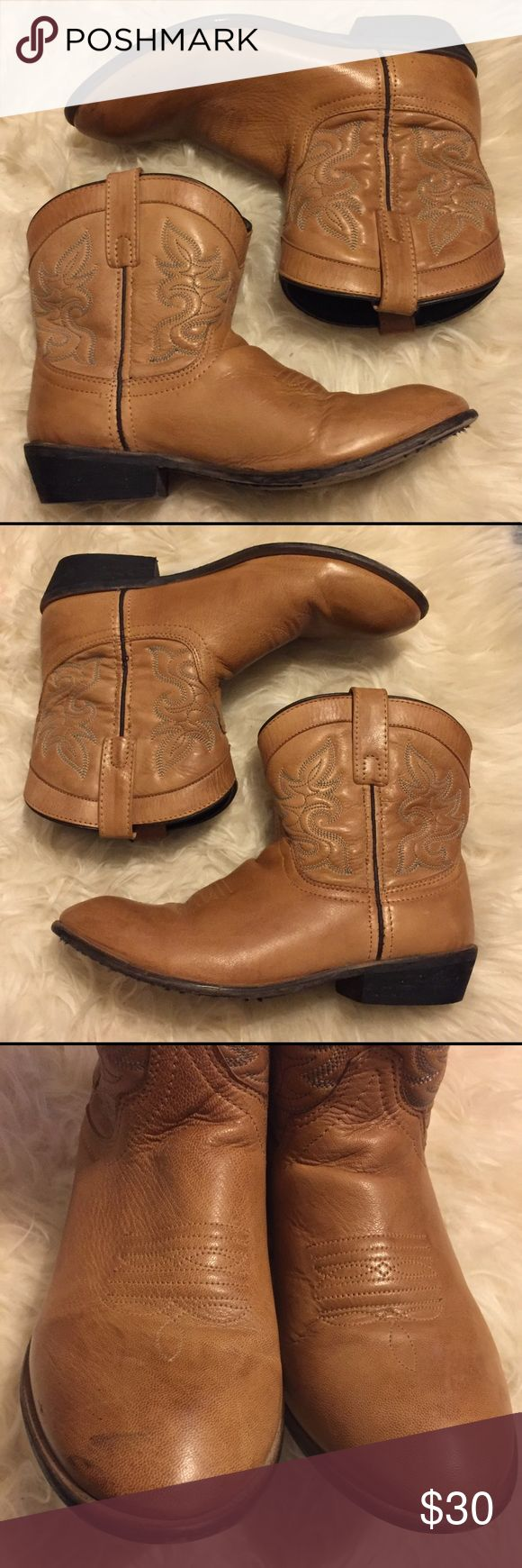 Dingo Tan Short Western Leather Cowboy Boot Brand: Dingo Size: Women's 9 Color: Tan  Style: Short cowboy boot Condition: Preowned (black mark on toes, see photos) Dingo Shoes Heeled Boots