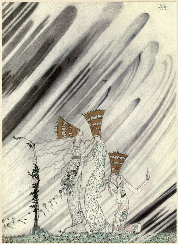 Kay Nielsen's Stunning 1914 Illustrations of Scandinavian Fairy Tales - East of the Sun and West of the Moon: Old Tales from the North - 'Just as they bent down to take the rose a big dense snow-drift came and carried them away.'| Brain Pickings