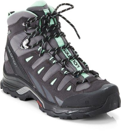 Combining outstanding fit with lightweight cushioning and protection, the sturdy Salomon Quest Prime GTX waterproof hiking boots for women are built for nimble and supportive trekking in dry comfort. Available at REI, 100% Satisfaction Guaranteed.